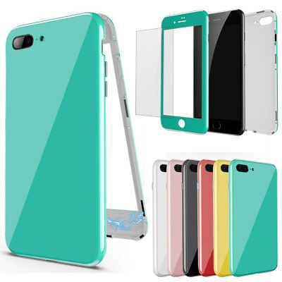 Slim 360 Full Body Magnetic Tempered Glass Cover Case for iPhone X 8 7 6s 6 Plus