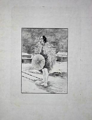 "1886 Georges Bigot ""Juniki-ski"" man rain gear Japan Radierung etching gravure"