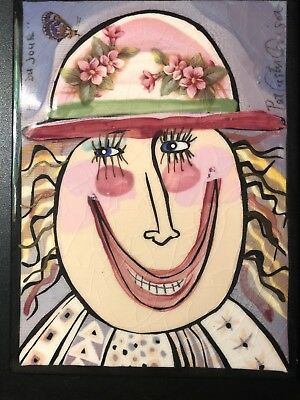 """Pat Custer Denison Pottery Tile Lady in Hat 6""""x8"""""""