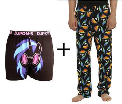 My Little Pony Rainbow Dash Lounge Pants Pajamas & DJPON-3 Boxers Set Brony Lot