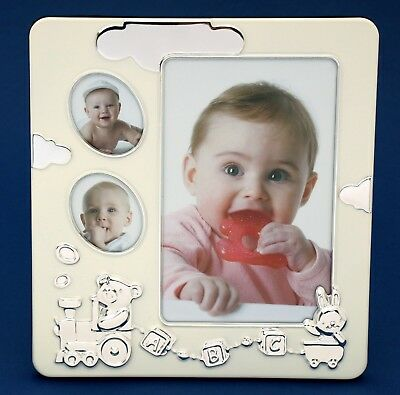Baby Photo Frame Silver 3 Hole Collage Newborn Girl Boy Baby Shower Gift Present
