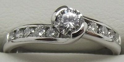 Solid 18Ct White Gold Natural Diamond Engagement/dress Ring - Valued At $2,750