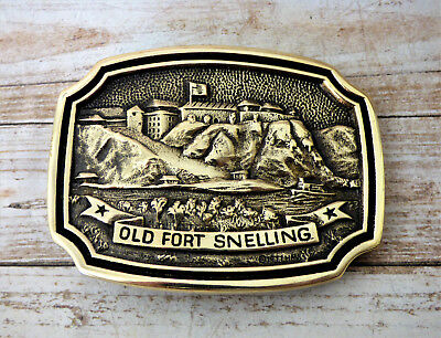 Old Fort Snelling Solid Brass Heritage Mint Vintage 1970s Belt Buckle