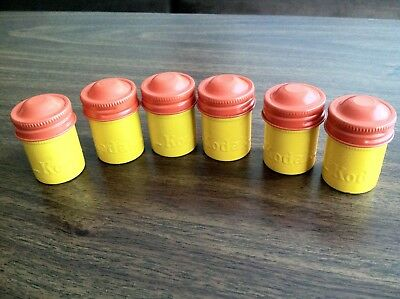 Lot of 6 Vintage 35mm KODAK Metal FILM Canisters Very Good Condition