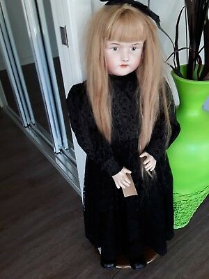 Antique  Repro Schmidt, Bruno Doll  real hair antique clothing 100 cm tall