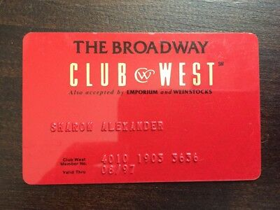 The Broadway Club West Membership Card Department Store Advertising