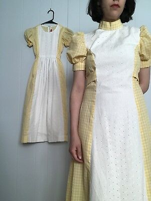 70s Mother Daughter Girls Set Gingham Checker Yellow Maxi Dress Small S