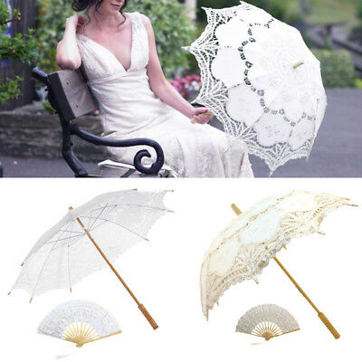 Handmade Cotton Vintage Style Lady Parasol Sun Umbrella Fan Lace Bridal Wedding