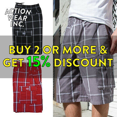Shaka Men's Plaid Shorts Casual 5 Pocket Hip Hop Cargo Shorts Elastic Checker