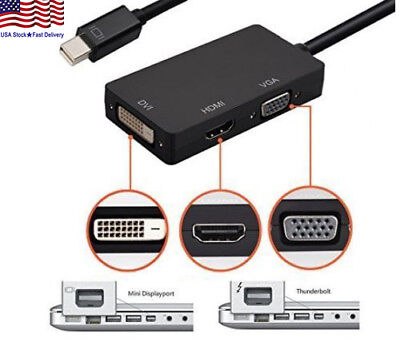 3 In 1 Makibes Mini Display Port DP To HDMI DVI VGA Adapter Cable For Apple