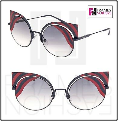 eaac3640f4c1 FENDI HYPNOSHINE FF0215S Dark Matte Blue Red Mirrored Sunglasses Cat Eye  0215