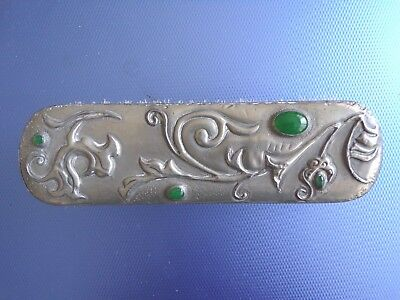 Arts And Crafts Style,pewter Cabouchon Stoned  Clothes Brush.