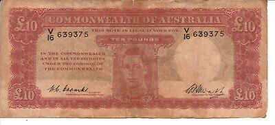 COMMONWEALTH of AUSTRALIA - TEN POUNDS BANK NOTE - Signed by Coombs & Watt