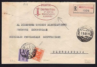 STORIA POSTAL RSI 1944 Front page Racc. with Postage stamps mixed CRI (FGA) RRR