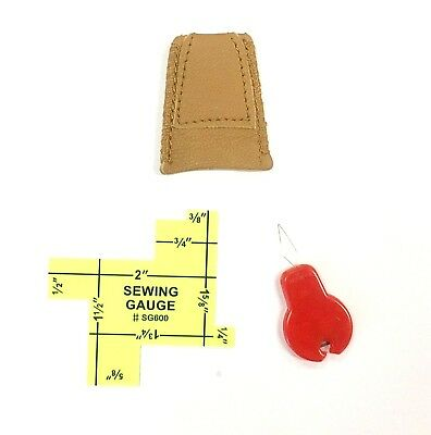 Genuine Leather Thimbles Double Layers Bonus Sewing Gauge + Needle Threader