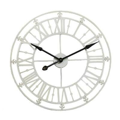 Cream Skeleton Wall Clock Iron Metal Roman Numerals 76cm