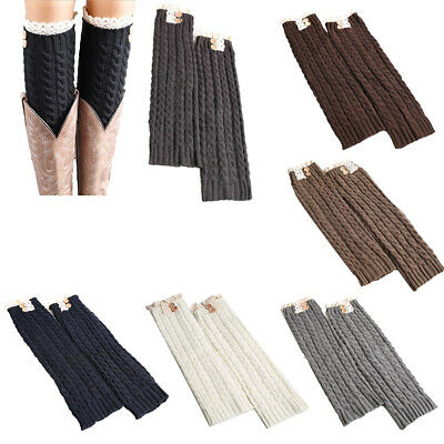 Women Crochet Cable Knit Braided Leg Warmers Boot Cuffs Toppers Socks Lace Trim