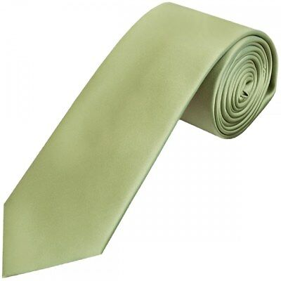 Sage Green Satin Classic Men's Plain Tie Hand Made Neck Tie Wedding Tie Prom Tie
