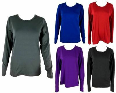 Women's Long Sleeve Thermal Top Brushed Interior Winter Warm Crew Neck Underwear
