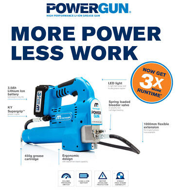 NEW Macnaught POWERGUN 450g 3.0Ah 18v Li-ion Battery-operated Grease Gun - PG450