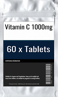 60 x Vitamin C 1000mg Tablets : High Strength Ascorbic Acid Energy Immune Health
