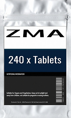 240 x ZMA Tablets: Zinc Magnesium Vitamin B6 Muscle Growth Recovery Anabolic Nut
