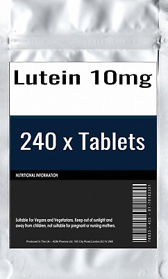 240 x Lutein 10mg Tablets : High Strength Vision and Eye Health General Support