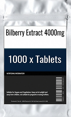 1000 x Bilberry Extract 4000mg Tablets : High Strength Eye Vision and Blood Heal