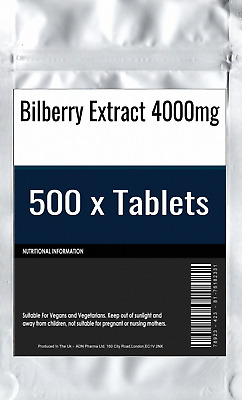 500 x Bilberry Extract 4000mg Tablets : High Strength Eye Vision and Blood Healt