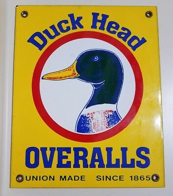 Vintage Old Duck Head Overalls Union Made Since 1865 Porcelain Metal Sign Rare