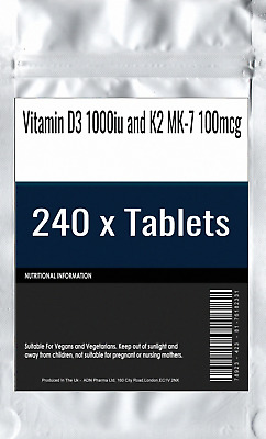 240 x Vitamin D3 1000iu and K2 MK-7 100mcg Tablets : Menaquinone Bone & Joint He