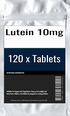 120 x Lutein 10mg Tablets : High Strength Vision and Eye Health General Support