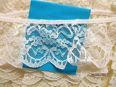 Made in Nottingham 3mtrs of 3cm Gathered White//Pink Flower lace Design 42