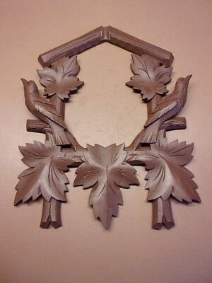 "Wooden Cuckoo Clock Wooden Face Birds & Leaves 14 1/4"" x 11 1/4"" New Old Stock"