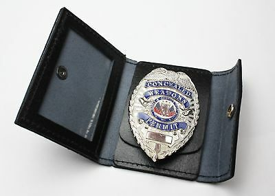 Leather Identification & Badge Holder Police Security Officer ID Wallet