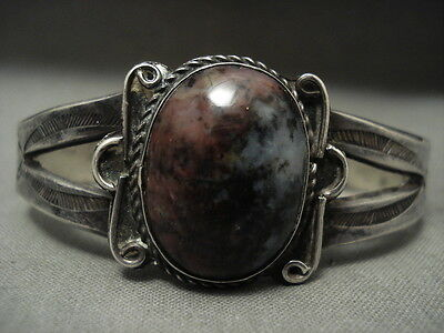 Early 1900's Vintage Navajo 'domed Petrified Wood' Silver Bracelet Old