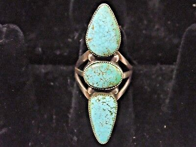 Vintage Native American Indian Silver 3 Turquoise Stone Ring Size 6 1/2