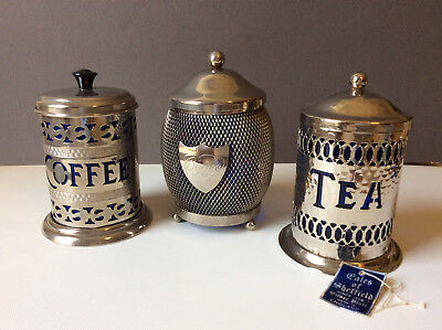 Vintage English Silverplate Coffee & Tea Caddies With Cobalt Blue Liners