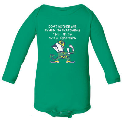 Notre Dame Watching With Grandpa Baby Long Sleeve Bodysuit