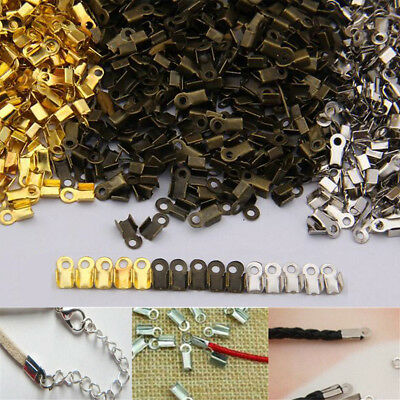 100x Folding Crimps Clamp Clip Connector Ends Cords For Leather Jewellery Craft