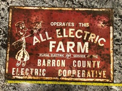 Willie Wiredhand Barron County Electric Cooperative Metal Sign