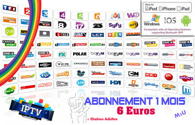 1 MOIS - iPTV PREMIUM SMART TV-VLC-KODI-ANDROID BOX m3u (sans ch adultes)