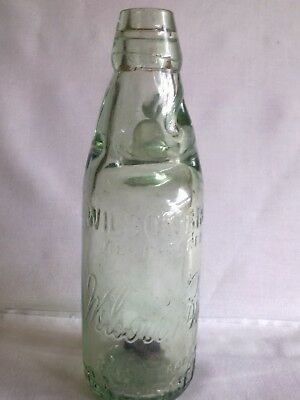 Lovely Antique Clear Glass Codd Old Bottle Wilson Bros Gateshead