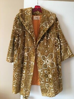 Vintage Gold Tapestry 1960's Swing Coat Size Large