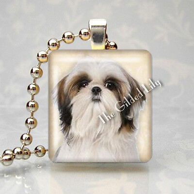 SHIH TZU DOG BREED PUPPY PET Scrabble Tile Altered Art Pendant Jewelry Charm