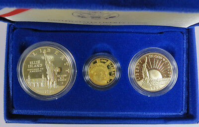 1986 Statue of Liberty PROOF 3 Coin Commemorative Set  w/Gold