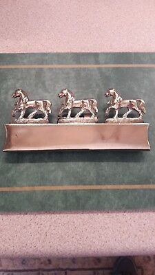 Antique Cast Horse Brass A Good Three Horse Hameplate With Harness Loops Intact
