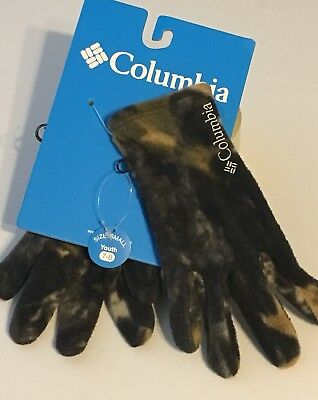 NWT Youth Columbia Camo Baddabing Gloves Kids Small 7/8