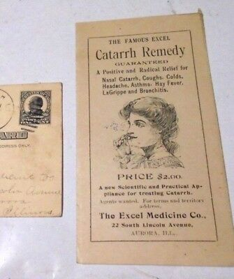 Antique The Famous Excel Nasal Douche Catarrh Remedy Booklet And Postcard