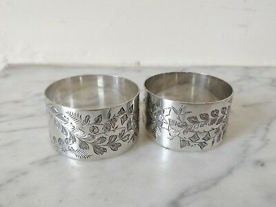 Solid Silver Pair Of Victorian Aesthetic Napkin Rings Hallmarked Maker Jw 39G